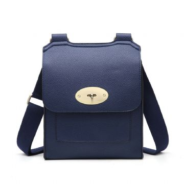 Faux Leather Antony Messenger Bag - Navy